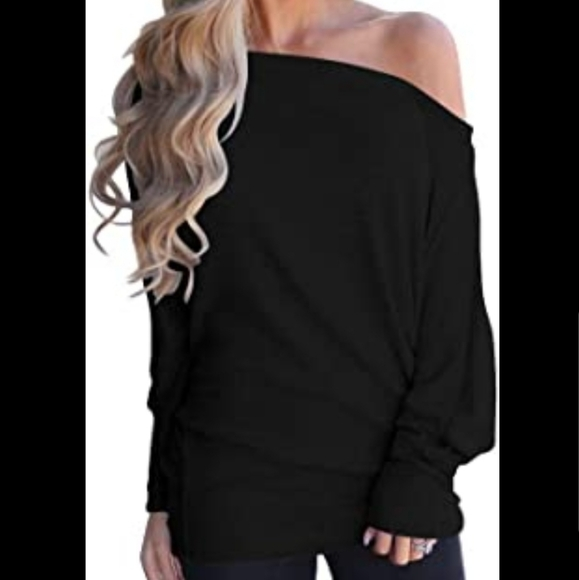3/$20 Black Off Shoulder Bat Wing Long Sweater